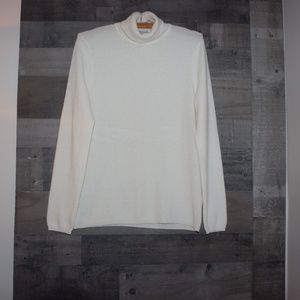 Nordstrom In Cashmere White Sweater L Turtleneck
